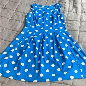 Dress barn Blue & White Polka-dot Dress Sz 16